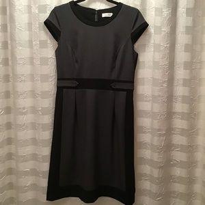 Calvin Klein Gray & Black Career Dress, Size 8